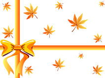 Autumn gift box. With maple leaves and an orange bow- VECTOR Stock Image