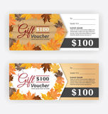 Autumn gift voucher certificate template. Vector illustration Stock Photography