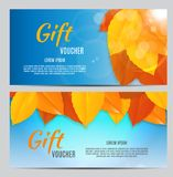 Autumn Gift Voucher Template Vector Illustration for Your Business Royalty Free Stock Photography