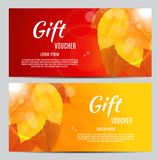 Autumn Gift Voucher Template Vector Illustration for Your Business Stock Photos