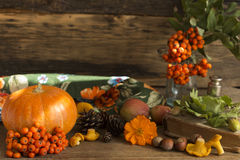 Autumn gifts close up. On a wooden background royalty free stock photography