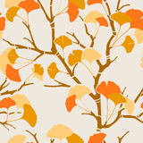 Autumn ginkgo. Seamless pattern with autumn ginkgo leaves Royalty Free Stock Photos