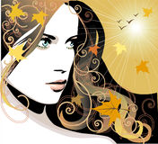 Autumn girl. Beautiful autumn girl. Vector illustration Stock Photography