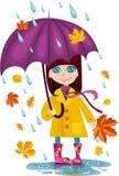 Autumn girl. Vector illustration of a autumn girl Stock Photos
