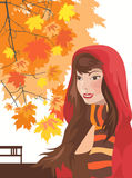 Autumn girl. Lovely brunette young girl on autumn  background Stock Photos