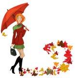 Autumn girl. With umbrella illustration background Stock Photo