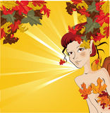 Autumn girl. Beautiful  autumn fairy girl illustration background Royalty Free Stock Image