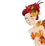 Autumn girl. Beautiful autumn fairy girl illustration background Stock Photo
