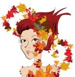 Autumn girl. Beautiful autumn girl illustration background Stock Photo
