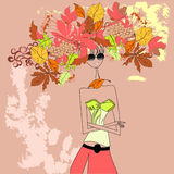 Autumn girl. Universal template for greeting card, web page, background Royalty Free Stock Photography