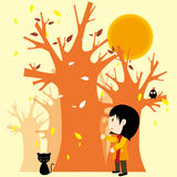 Autumn and girl Royalty Free Stock Photography