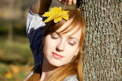 Autumn girl. Young woman in autumn park Royalty Free Stock Images