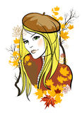 Autumn girl. Hand drawn portrait of a girl with autumn leaves vector illustration