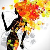 Autumn girl. Autumn decorative composition with girl stock illustration