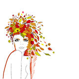 Autumn girl. Beautiful girl with the leaves on the head vector illustration