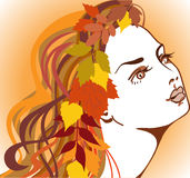 Autumn girl. Beautiful girl with autumn leaves in long hair vector illustration
