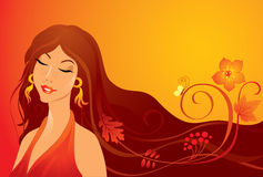 Autumn girl. Pretty autumn girl with flowers and butterfly stock illustration