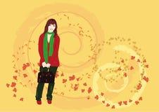 Autumn girl. Autumn - the list for throw-over calendar Royalty Free Stock Images