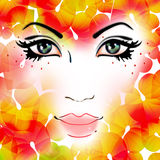 Autumn Girl. Abstract of an autumn girl with beautiful eyes and orange-red leaves royalty free illustration