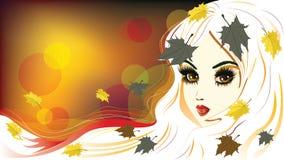 Autumn Girl avec les cheveux blancs Image libre de droits