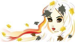 Autumn Girl avec les cheveux blancs Photo stock