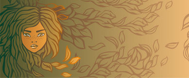 Autumn girl banner in vector Royalty Free Stock Photo