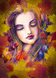 Autumn girl. Beautiful autumn girl with leaves on her head.Picture created from imagination with watercolors and colored pencils stock illustration