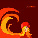 Autumn girl. Autumn card with a beautiful girl in orange tones vector illustration