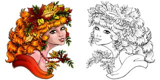 Autumn girl color and outline Royalty Free Stock Photo