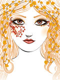 Autumn girl face Stock Images