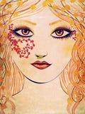 Autumn girl face Stock Photo