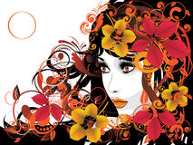 Autumn Girl with Floral Royalty Free Stock Image