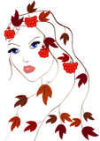 Autumn girl. Glamour girl with autumn leaves and red berries of viburnum in her hair royalty free illustration