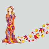 Autumn girl. Illustration of girl with maple leaves decorated by ethnic pattern royalty free illustration