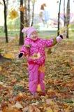autumn girl little park 免版税图库摄影