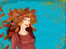Autumn girl - portrait of a young woman with wreath of autumn leaves vector illustration