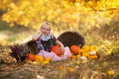 Autumn girl with pumpkin Stock Photography