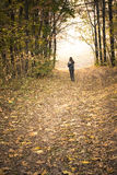 Autumn: Girl on the road in the park, forest. Royalty Free Stock Image