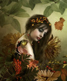 Autumn girl. The sad girl on a background autumn Stock Photography