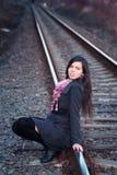 Autumn girl with scarf Stock Photos