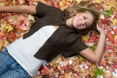 Autumn Girl Smiling Stock Photo