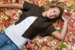 Autumn Girl Smiling Stock Photo