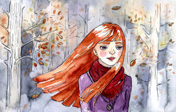 Autumn girl. Watercolor. Illustration painted by me. Autumn girl with red long hair, wearing violet coat and deep pink scarf. There are beech trees behind her Stock Images
