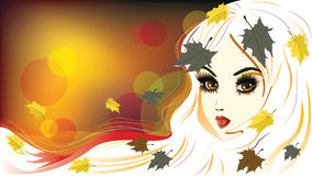 Autumn Girl with White Hair. Abstract autumn girl with white hair and maple leaves vector illustration
