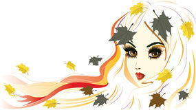 Autumn Girl with White Hair. Abstract autumn girl with white hair and maple leaves royalty free illustration