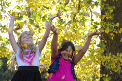 Autumn girls. Two young girls throwing autumn leaves in the air Royalty Free Stock Images