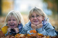 Autumn girls laughing stock images