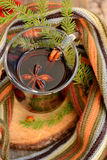 Autumn in a glass of mulled wine Royalty Free Stock Image