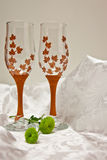 Autumn glasses. A coup of glasses for autumn lovers stock images
