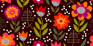 Autumn glory. Seamless vector pattern with chrysanthemums and asters. Inspired by 1950s-1960s design. Retro textile collection Stock Photography